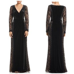 TADASHI SHOJI Velvet Lace-Sleeve Gown Black 10